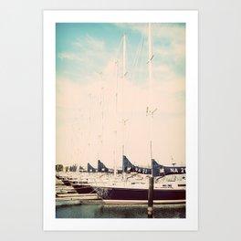 Navy Boat Art Print