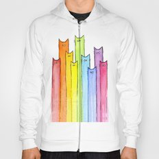 Rainbow of Cats Funny Whimsical Colorful Cat Animals Hoody