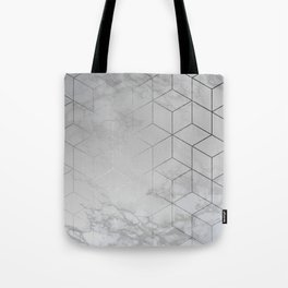Silver Platinum Geometric White Mable Cubes Tote Bag
