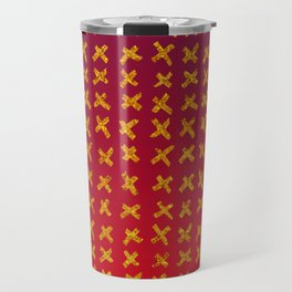 Red and violet ombre with X marks Travel Mug