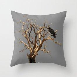 RAVEN ON DEAD TREE GREY ART Throw Pillow