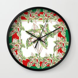 Green & Red Abstracted Foliage Art Wall Clock