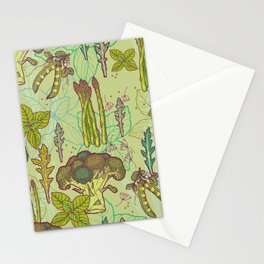 Green vegetables pattern. Stationery Cards