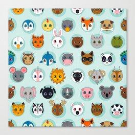 Baby Animal Dots Canvas Print