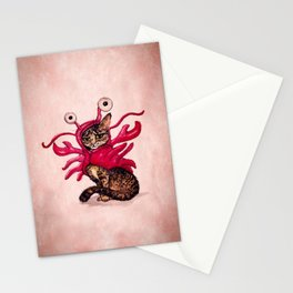 """""""Ma'ama Lisa"""" by Amber Marine ~ Lobster Cat, Watercolor and Ink, (c) 2015 Stationery Cards"""