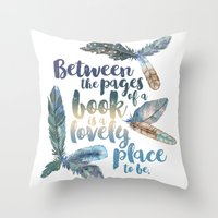 Throw Pillows featuring Between the Pages - Feathery White by Evie Seo