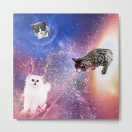 Adventures with Space Cats Metal Print