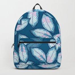 Beautiful Elegant Blue Leaf Pattern Backpack