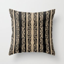 Taupe Black Striped Squiggle Pattern Throw Pillow