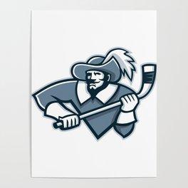 Musketeer Ice Hockey Mascot Poster