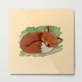 Sleepy Watercolor Fox Metal Print