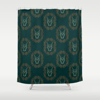charizard Shower Curtains featuring Charizard Skull by Kayla Catherine Illustration