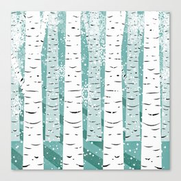Winter with Birch trees Canvas Print