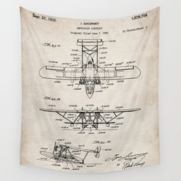 Seaplane Patent - Biwing Seaplane Art - Antique Wall Tapestry