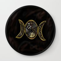 steam punk Wall Clocks featuring steam punk goddess  by Shonda Robb