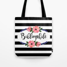 Bibliophile - Stripes & Flowers Tote Bag