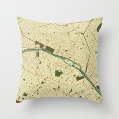 Paris Streets map Throw Pillow