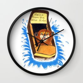 Hello from the otter slide Wall Clock