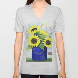 Watercolor sunflower bouquet in bucket Unisex V-Neck