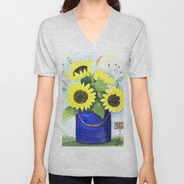 Watercolor sunflower bouquet in bucket Unisex V-Neck