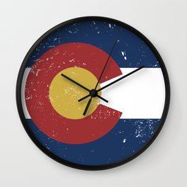 Distressed Colorado Flag Wall Clock