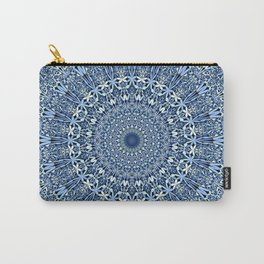 Light Blue Floral Mandala Carry-All Pouch