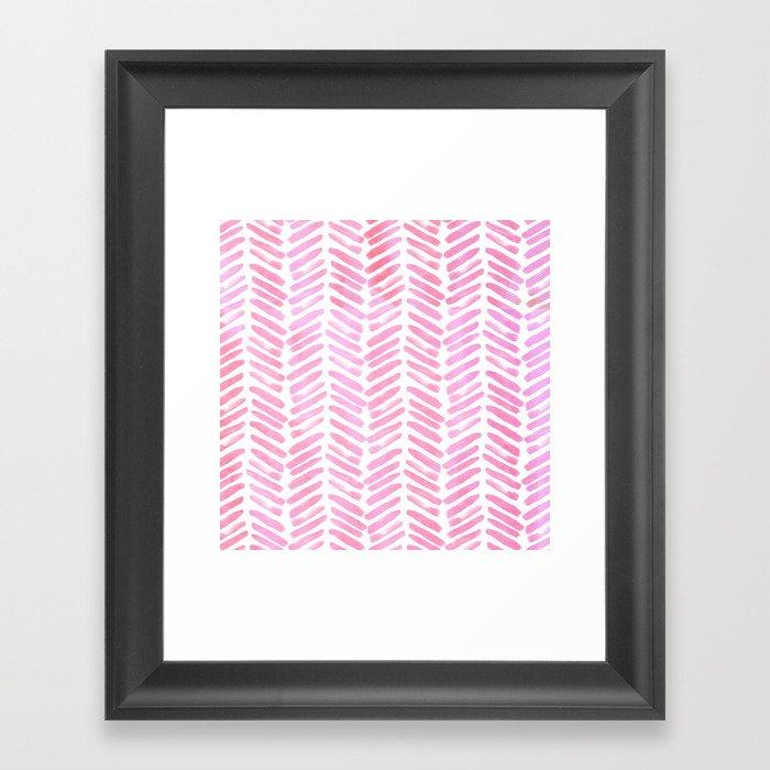 Handpainted Chevron pattern - pink and pink ;) Gerahmter Kunstdruck