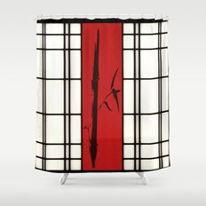 Shoji with bamboo ink painting Shower Curtain