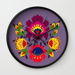 Folk flowers on purple Wall Clock