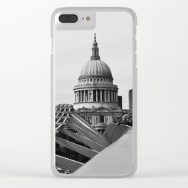Millenium Bridge and St Paul's Cathedral. Clear iPhone Case