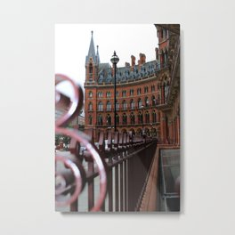 St Pancras Station Streetview in London  Metal Print