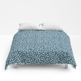 Desaturated Green and White Polka Dot Pattern Comforters