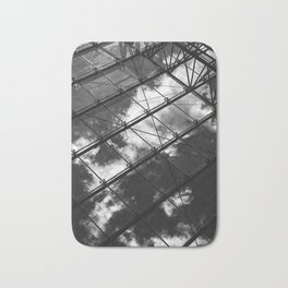 Glass Ceiling VIII (Portrait) - Black and White Architectural Photography Bath Mat