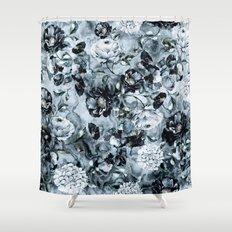 Black Flowers Shower Curtain