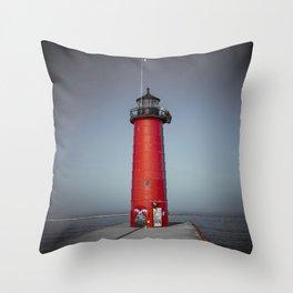 Kenosha Pierhead Light Selective Color Lake Michigan Lighthouse Wisconsin Throw Pillow