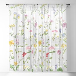 botanical colorful countryside wildflowers watercolor painting Sheer Curtain
