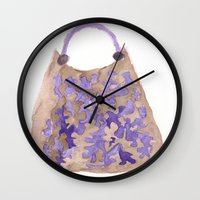 tote bag Wall Clocks featuring Tote 1 by ©valourine