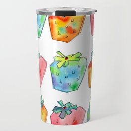Difference Is Not Wrong watercolor painting strawberry illustration fruits nursery kitchen Travel Mug