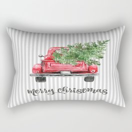 Red Truck With Christmas Tree Rectangular Pillow
