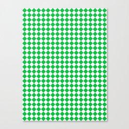 Small Diamonds - White and Dark Pastel Green Canvas Print