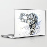 snow leopard Laptop & iPad Skins featuring snow leopard by KOSTART
