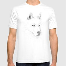 Saber :: A Siberian Husky MEDIUM White Mens Fitted Tee
