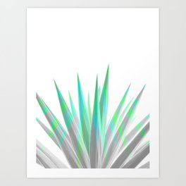 Tropical Allure - Green & Grey on White Art Print