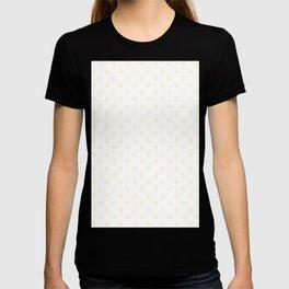 Small Polka Dots - Cornsilk Yellow on White T-shirt
