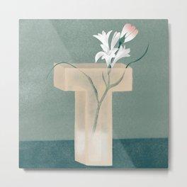 Vase T Tuberose Metal Print