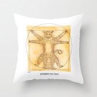 da vinci Throw Pillows featuring Leopardo da Vinci by Nanu Illustration