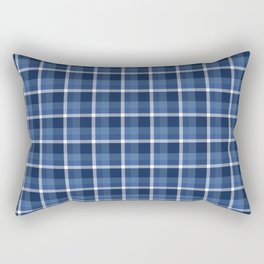 Navy Plaid Rectangular Pillow