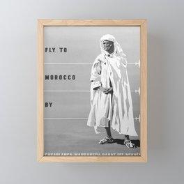 retro monochrome Fly to Morocco Framed Mini Art Print