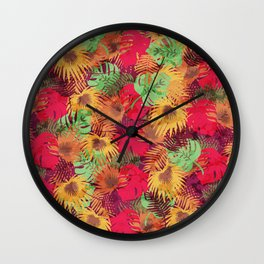 Seamless Pattern of Tropical Leaves Wall Clock