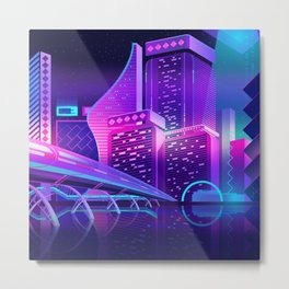 Synthwave Neon City #8 Metal Print